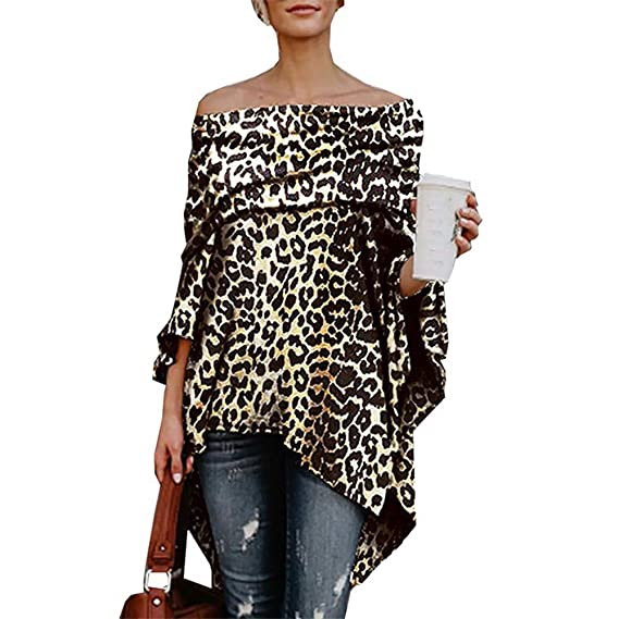 75311fb07bc Amazon.com: Livoty Women Off Shoulder Leopard Printed Asymmetric T-Shirts  Long Sleeve Tops Blouse: Clothing