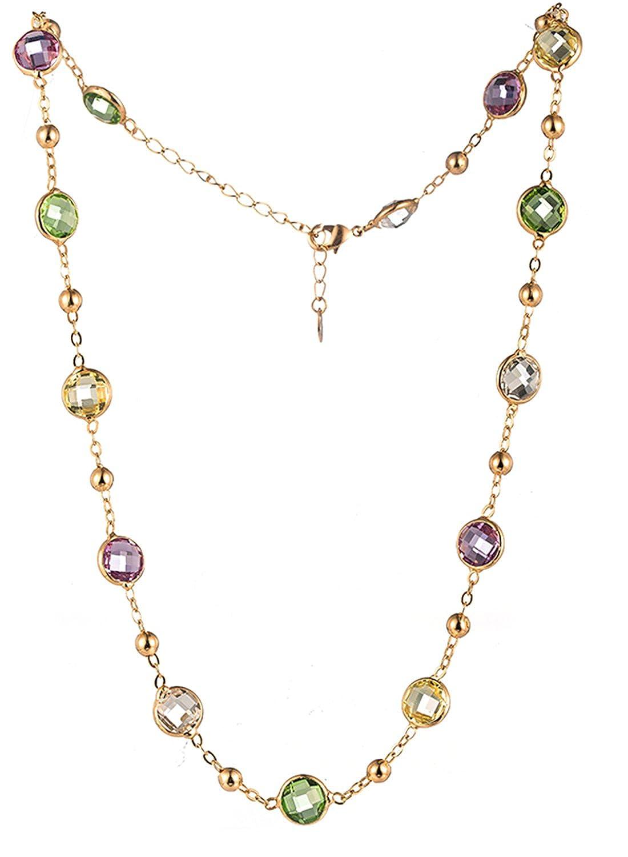 NEOGLORY Collar Elegante con Cristales SWAROVSKI Verde Morado Blanco Amarillo Joya Original