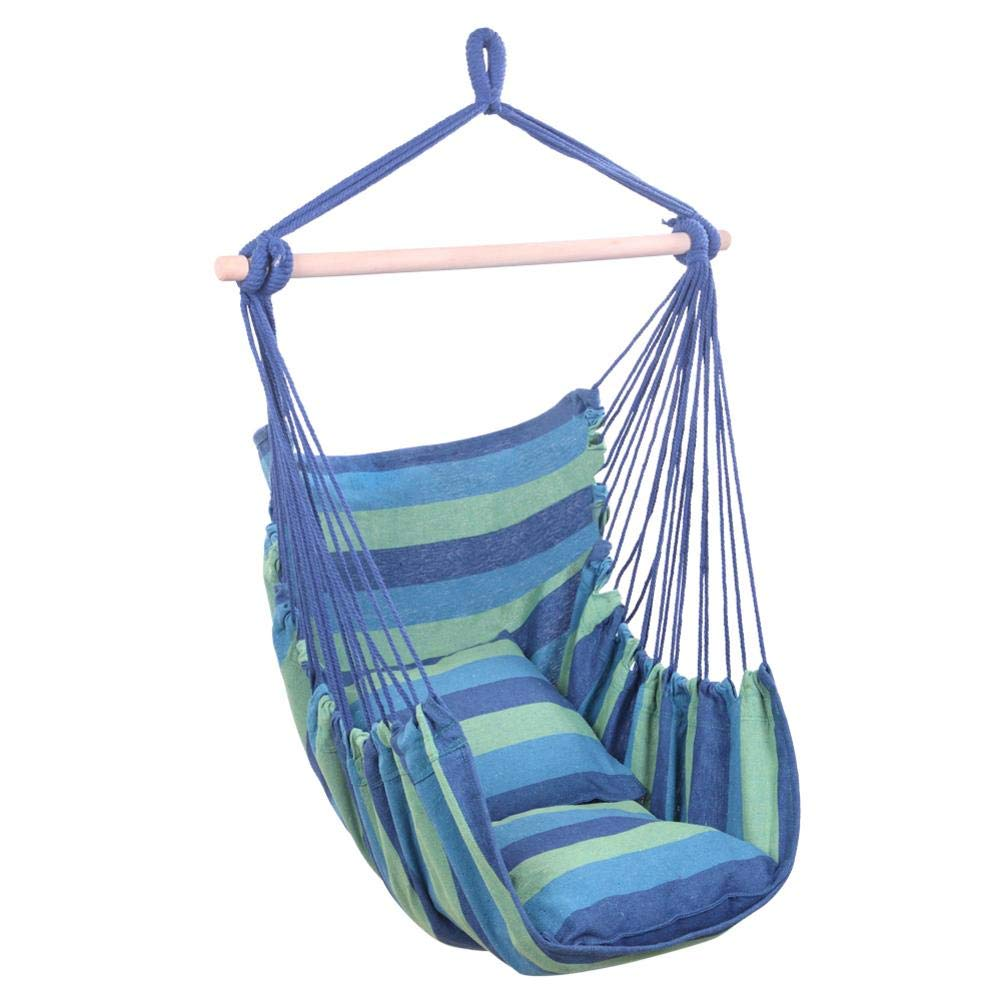 stonishi Hammocks Hanging Distinctive Cotton Canvas Hammock Chair, Soft-Spun Cotton Rope, Hanging Rope Chair with Pillows Blue Hammock Swing Bed for Patio by stonishi