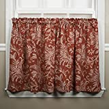 Ellis Curtain Floating Leaves Tailored Tiers, 68″ x 24″, Red For Sale