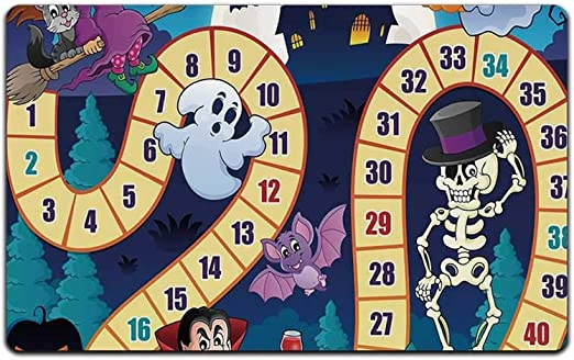 C COABALLA Juego de Mesa Durable Print Floor Mat,Halloween Tema Símbolos Feliz Bruja Chica Vampiro Fantasma Calabazas Happy Comic para Oficina en casa, 23