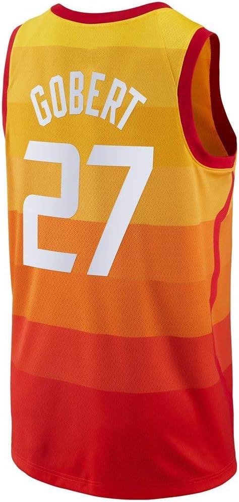 YSMART Maillot de Basket pour Hommes,Rudy Gobert #27 City Edition Game Jersey,D/ébardeurs de Sport,Uniforme de Basketball T-Shirt sans Manches Maillot Swingman de Basket-Ball,Orange