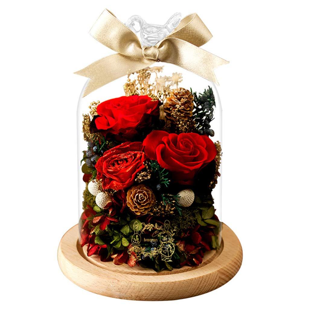 永遠の花 ギフトボックス ガラス装飾 バラのドライフラワー デコレーション バレンタインデー クリエイティブ 誕生日ギフト B07GPJDHJX