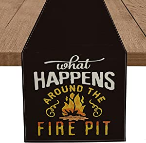 Artoid Mode Welcome to Our Fire Pit Table Runner, Marshmallows Music Camper Bonfire Kitchen Dining Table Decoration for Home Party Decor 13 x 72 Inch