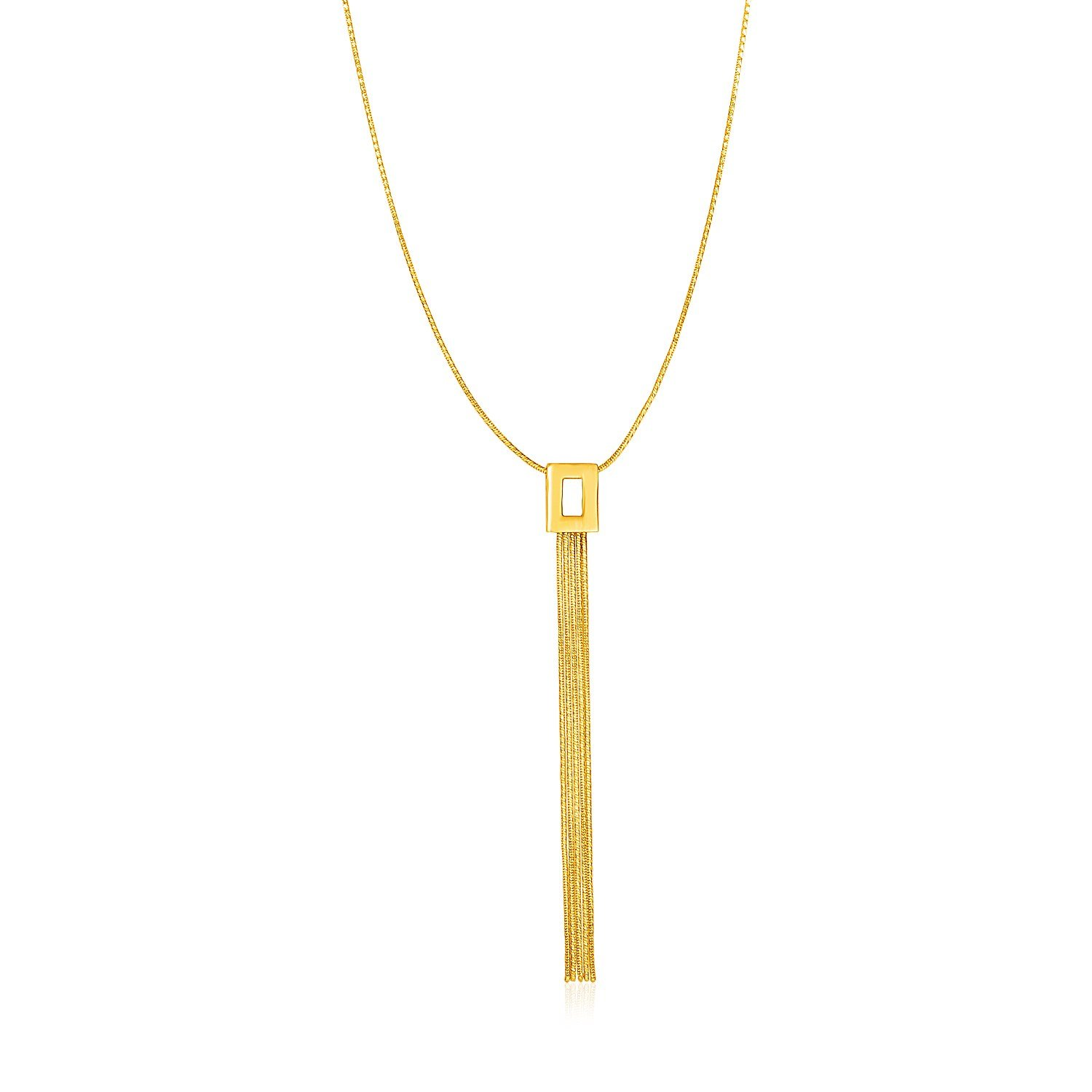 14K Yellow Gold Lariat Style Necklace by Jewels By Lux