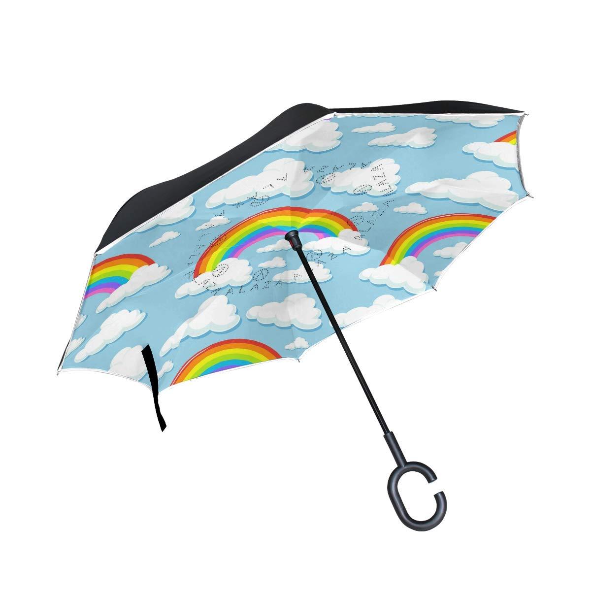 ALINLO inversé Parapluie Arc-en-Ciel Motif Nuages, Double Couche Envers Parapluie pour Voiture Pluie étanche d'extérieur avec poignée en Forme de C