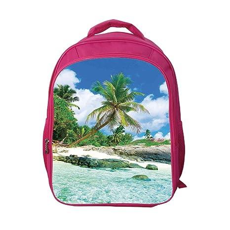 949612258c38 iPrint School Bags Kid's Backpacks Custom,Seaside Decor,Scene Rocks Palms  Shades Jungle Honeymoon