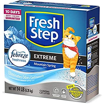 Fresh Step Extreme Scented Litter with The Power of Febreze, Clumping Cat Litter - Mountain Spring, 14 lb, Grey
