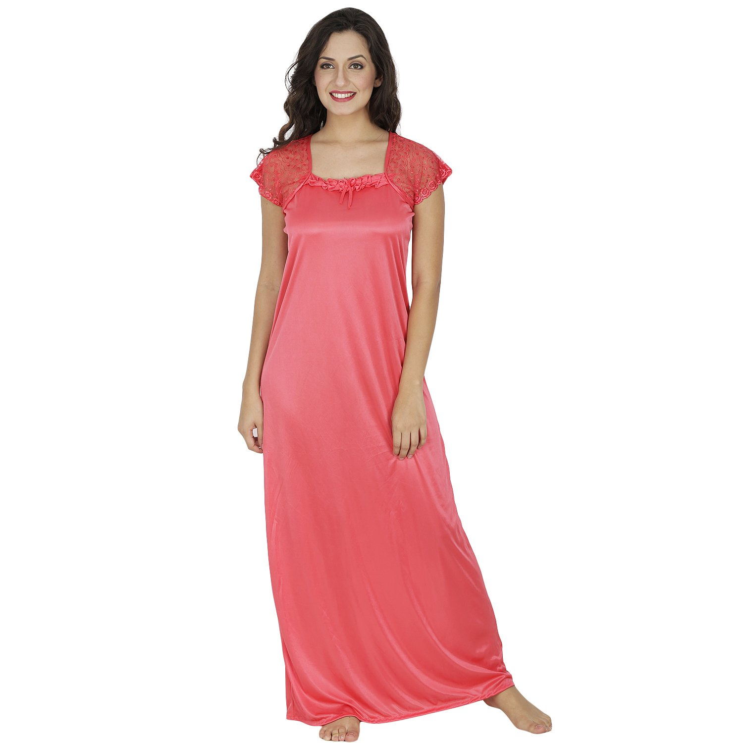Peach Satin Long Nighty