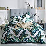 Floral Leaves Print Girls Duvet Cover Set Full Queen Luxury Summer Bedding Cover Set Smooth Soft Egyptian Cotton Duvet Comforter Cover Set 1 Duvet Cover with 2 Pillowcases Queen Bedding Set, Style5