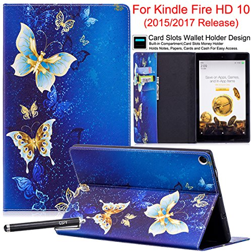 Newshine Case for Fire HD 10 Tablet, Kickstand Flip Cover for All-New Amazon Kindle Fire 10.1'' Display (7th Generation 2017 Release / 5th Generation 2015 Release), Gold Butterfly by NewShine