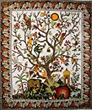 Tree of Life Tapestry Cotton Bedspread 108'' x 88'' Full-Queen White
