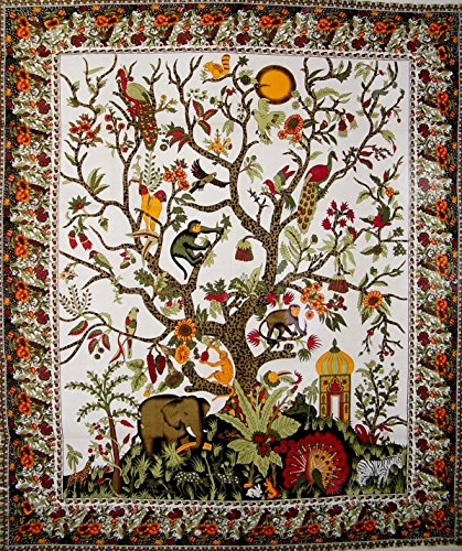 India Arts Tree of Life Tapestry Cotton Bedspread 108″ x 88″ Full-Queen White