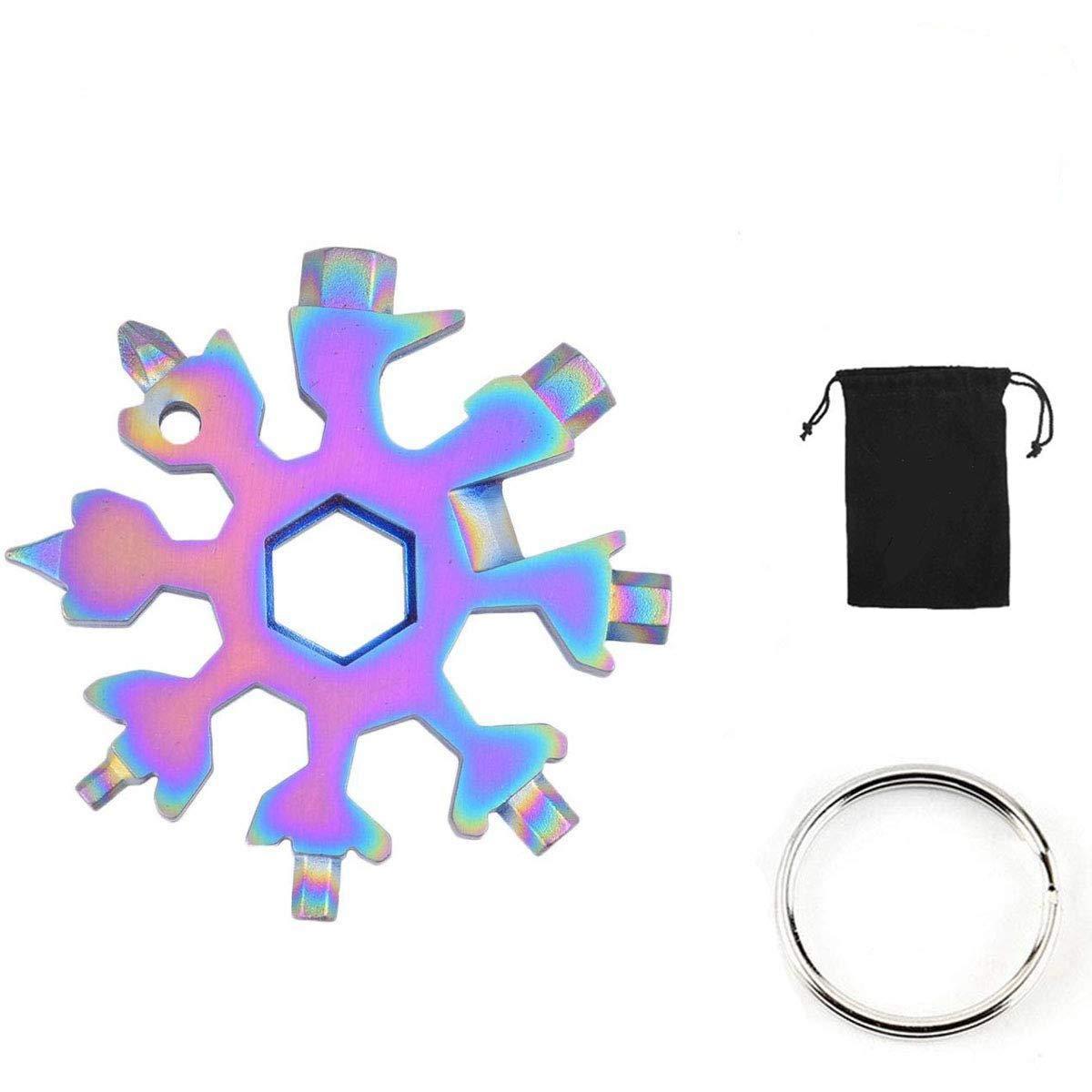 Lomio 18-en-1 multi-herramienta copo de combinada, acero inoxidable llavero + bolsa de tela negro portátil (Colorido), especialmente para deportes al ...