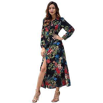 W&TT Abrigo de Las Mujeres Vestido Floral Boho Gasa Maxi Vestido Largo Sleeven Cardigan botón Fiesta