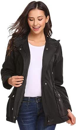 FineFolk Women's Lightweight Zip Up Military Anorak Safari Jacket with Pockets