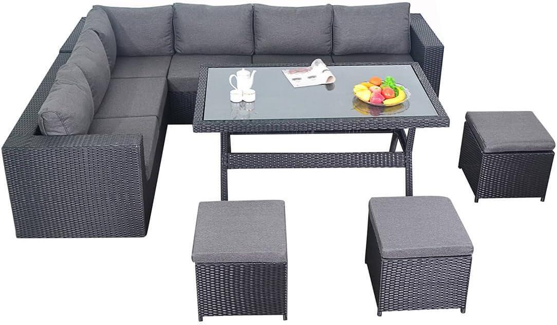 Puerto Royal Prestige de ratán Muebles de jardín Juego de Comedor sofá de Esquina Mesa – Negro: Amazon.es: Jardín