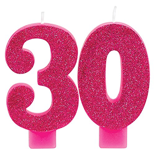 Cake Gift Candle - Amscan 171909 Pink and Gold Milestone 30 Numeral Candles 3 1/2