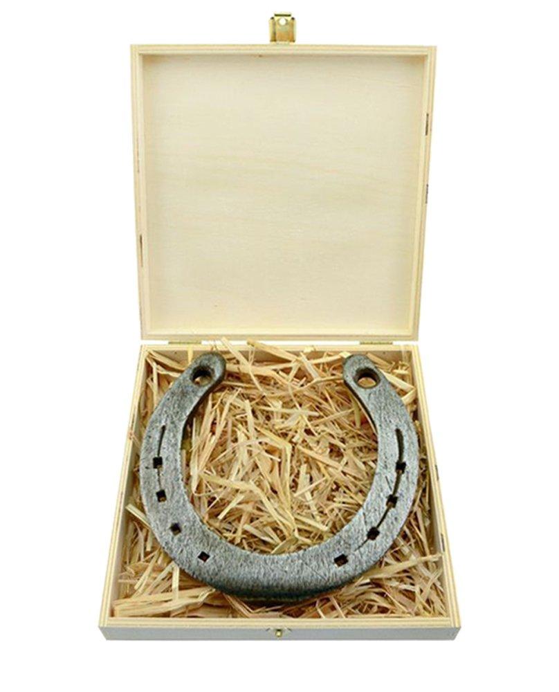 Echtes Glückshufeisen in schöner Holz-Geschenkbox mit persönlicher Wunschgravur von 4you Design