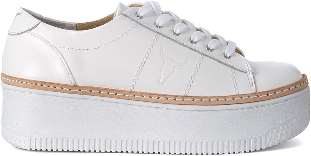 Windsor Smith Skyla White Sneakers Scarpe da Ginnastica Bianche in Pelle