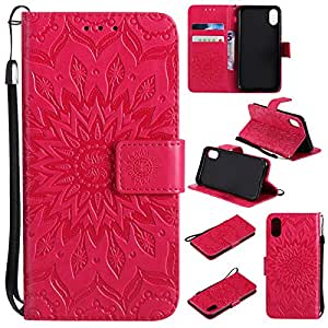 iPhone X Case, Abtory Folio Style [Sunflower] Protective PU Leather Flip Cover with Card Slot + Card Slots Magnetic Closurefor iPhone X (2017) Rose