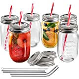 MASTERTOP 6 Pcs Mason Drinking Jars with Lids and Straws Glass Jars Wide Mouth Multifuncitional Bottles Glass with 3 Extra Free Sealing Lid (500 ml)