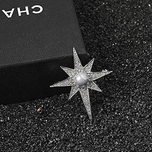 Men's fashion crystal cross star-studded diamond brooch pearl brooch pin brooch Ms. (Studded Brooch Pin)