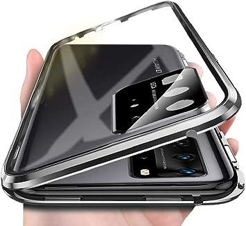 Funda para Huawei P40 Pro Carcasa 360 Grados Protección Cubierta Funda Magnética Adsorption Bumper de Metal Cover Transparente Tempered Glass Case[Integrada Protector de Lente de Cámara],Negro: Amazon.es: Electrónica