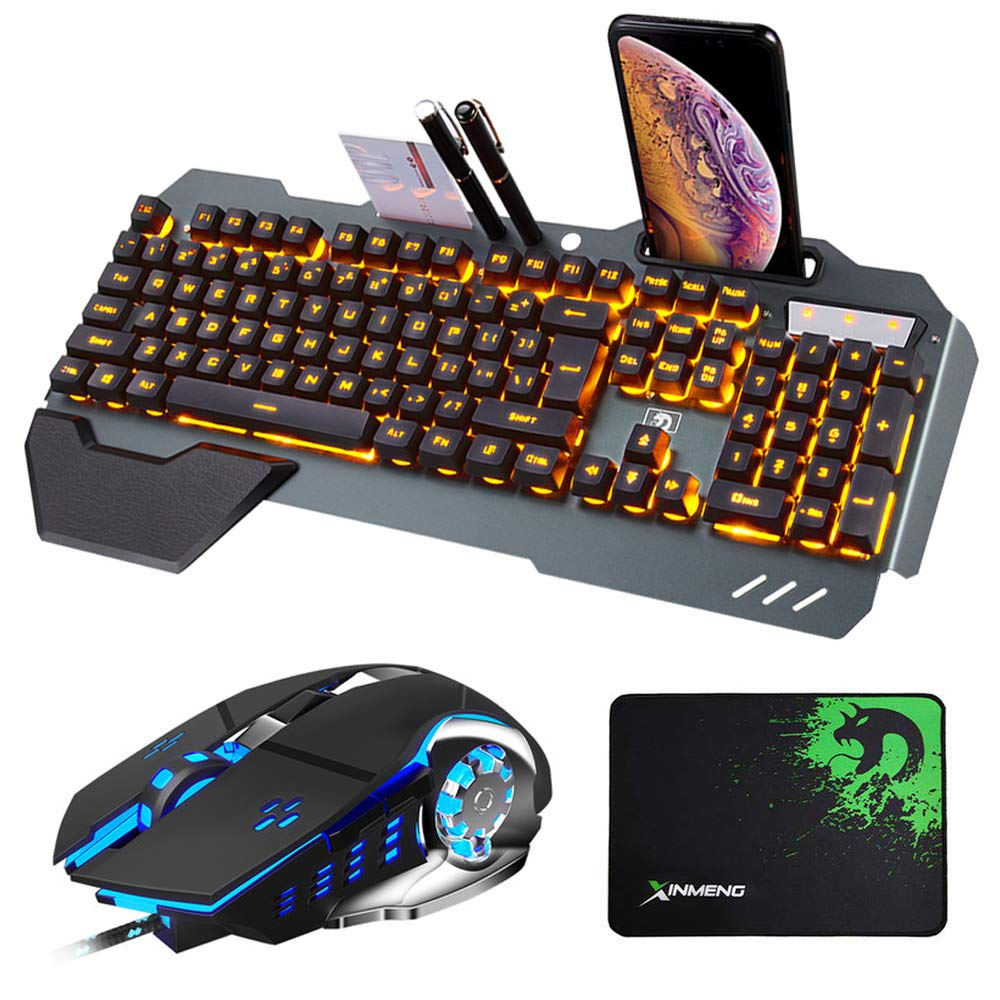 PC mouse pad Hoopond technology keyboard and mouse combo wired orange yellow LED backlight black metal game keyboard with hand support 3200DPI 4 color breathing light optical mouse