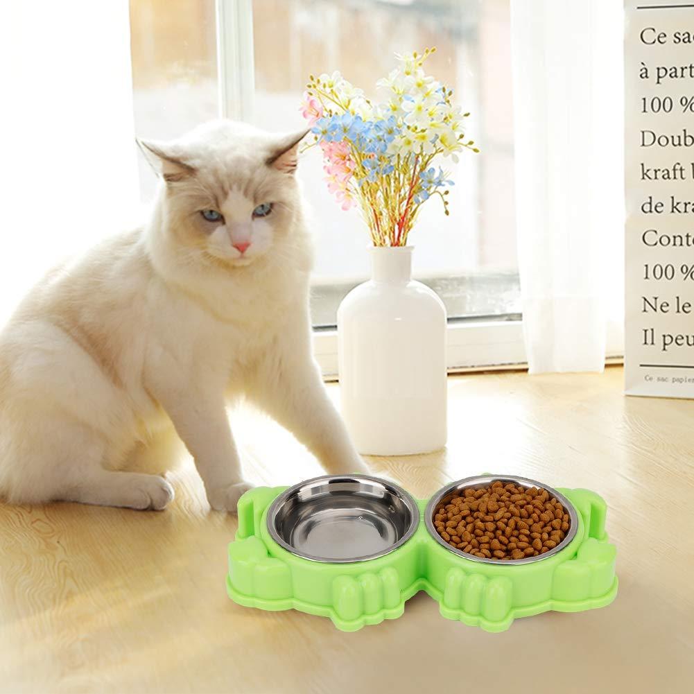 Ciotole per cani in acciaio inossidabile a doppia vasca per animali domestici con design antigoccia Blu per alimenti per animali domestici e mangiatoia per animali domestici di piccola taglia