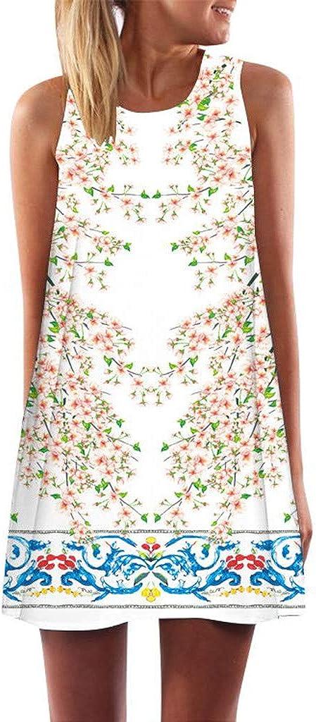 KPILP Women Dress Round Neck Sleeveless Animal Natural Star Floral Printed Vintage Bohemian Summer Beach Leisure Slim Fit Short Mini Dress W-white