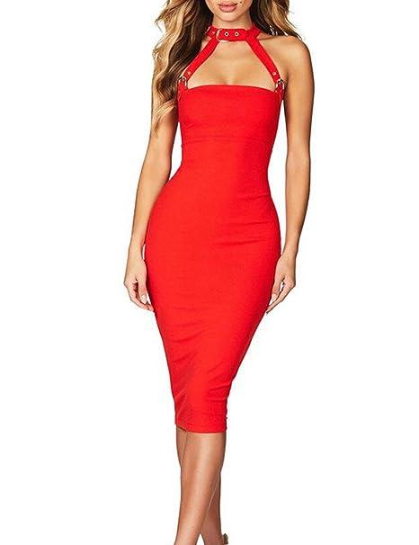 011ad0b5750 UONBOX Women s Sexy Belt Strap Strapless Night Club Bandage Dress (Red