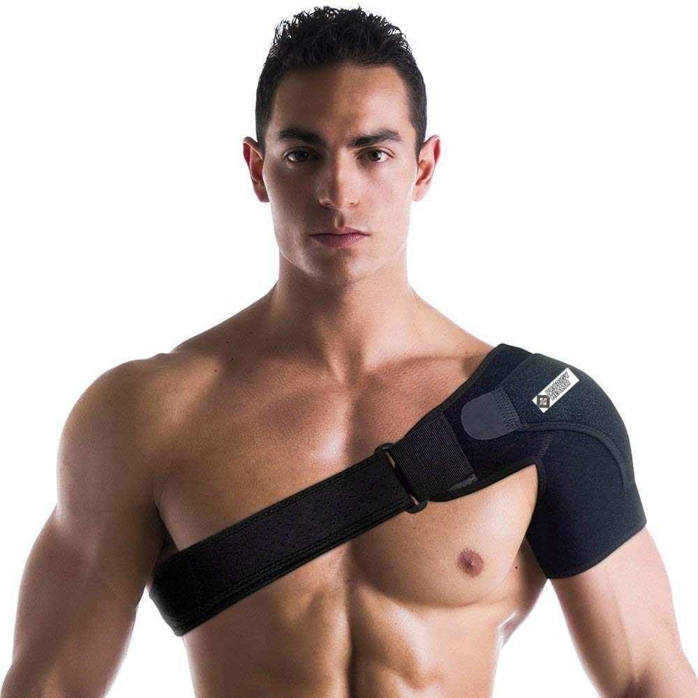 Prodigy Health Shoulder Stability Brace with Pressure Pad Light and Breathable Neoprene Shoulder Support for Rotator Cuff, Dislocated AC Joint, Labrum Tear, Shoulder Pain, Shoulder Compression Sleeve by Prodigy Health