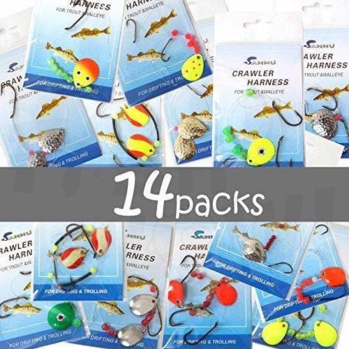 14 packs Crawler Harness Walleye Spinner Rig - 1-hook,2-hook,3-hook (Crawler Rig)