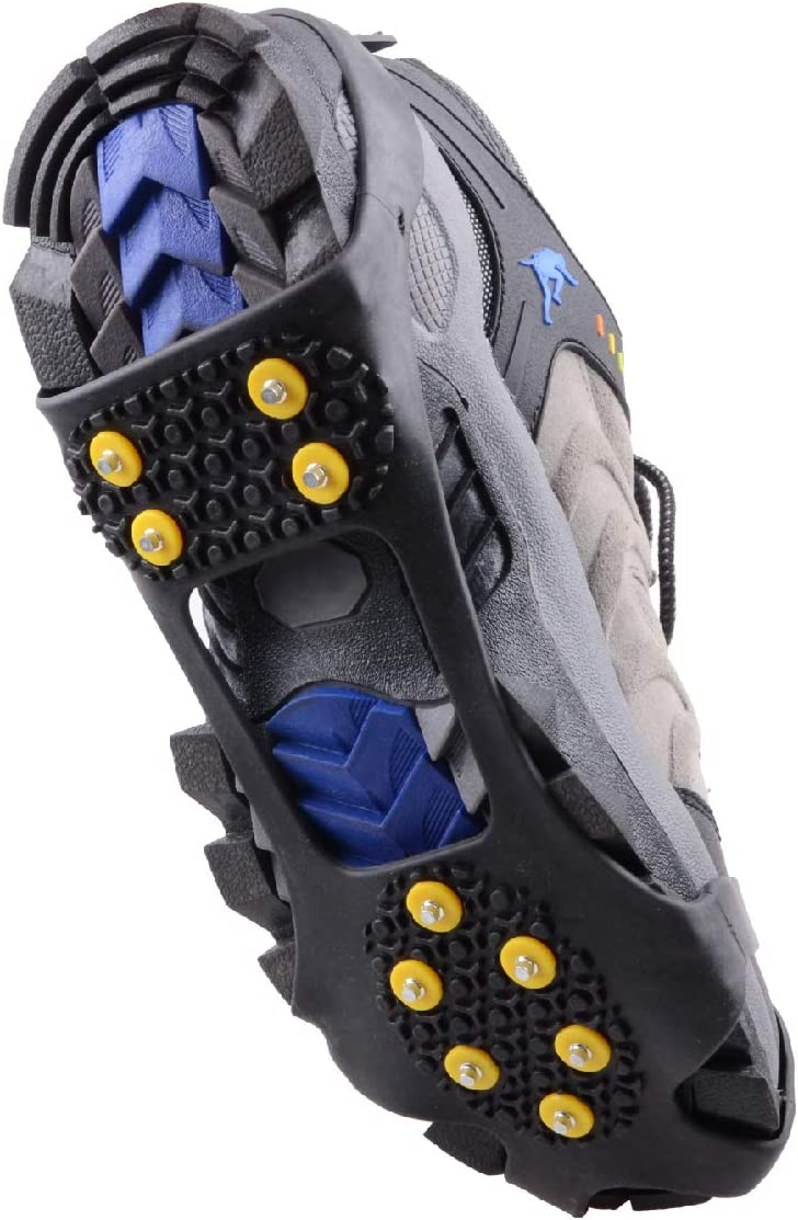 Jogging Hiking on Snow and Ice Climbing Azarxis Walk Traction Ice Cleat Spikes Crampons with 10 Spikes Snow Grips Stretch Footwear Traction for Walking