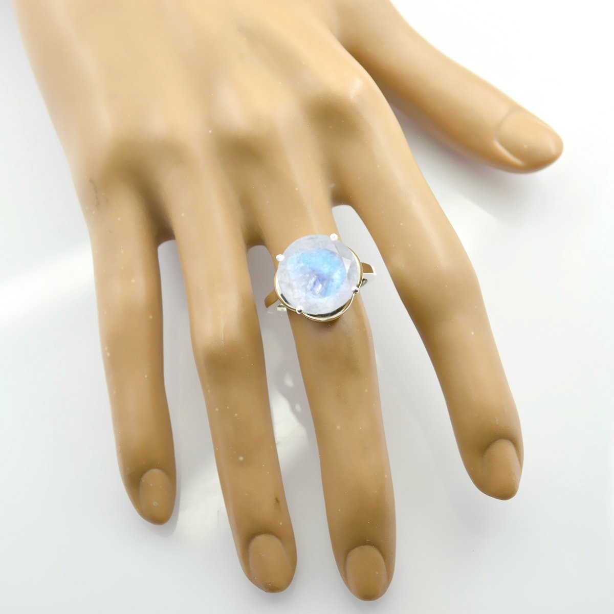 925 Sterling Silver White Rainbow Moonstone Real Gemstones Ring Real Gemstones Round Faceted Rainbow Moonstone Ring Great Jewelry Greatest Item Gift for Friend