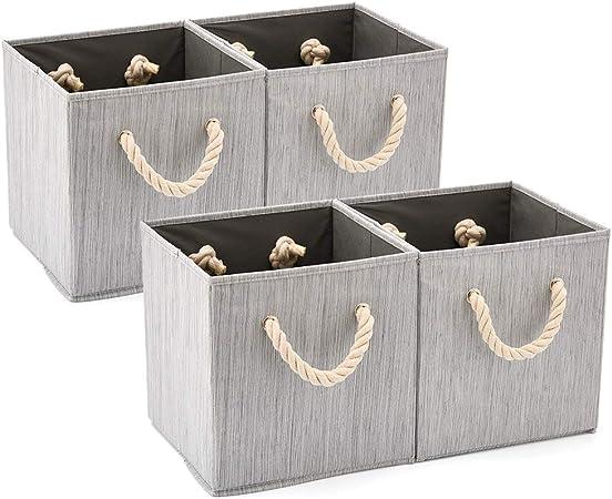 EZOWare 4 pcs Cajas de Almacenaje, Cubo Decorativa de Tela Plegable Resistente con Manijas para Ropa, Juguetes, Armario, Dormitorio, Estanterías y Mas - (26.7 x 26.7 x 28 cm) (Gris bambú): Amazon.es: Hogar