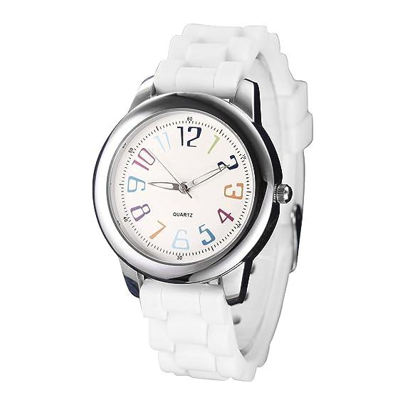 Relojes de mujer blanco banda de silicona cuarzo analógico árabe número muñeca reloj de pulsera de