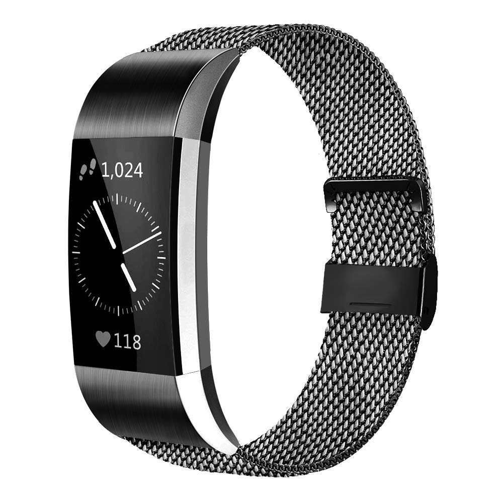 AK For Fitbit Charge 2 Strap (2 Sizes), Metal Mesh Magnetic Clasp Stainless Steel Replacement Strap for Fitbit Charge 2
