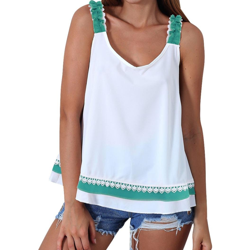 TIFENNY 2018 New Women Summer Lace Blouse Bow Sleeveless Tank Top Fashion T-Shirt at Amazon Womens Clothing store: