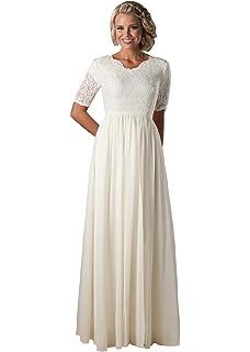 c8c38fde4dd Lianai Women s Illusion Half Sleeve Lace Wedding Dress Long Chiffon Boho Bride  Dress