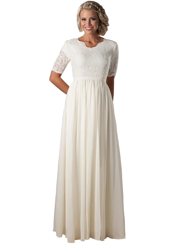 Lianai Womens Illusion Half Sleeve Lace Wedding Dress Long Chiffon