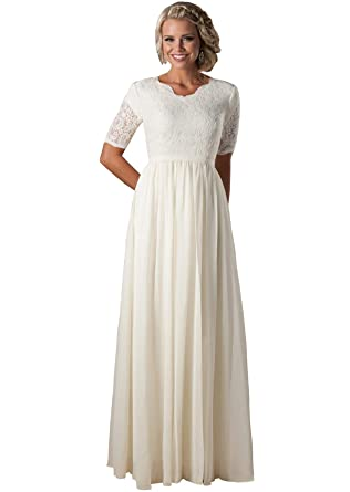 7f45d18e9f Women s Scalloped V Neck Modest Chiffon Wedding Dress Illusion Half Sleeve  Ivory