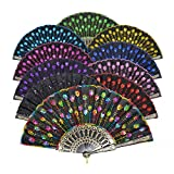 LYSA ''Peacock'' Folding Hand Held Fans Bulk for Women - Spanish / Chinese/Japanese Palace Style Restoring Ancient Ways 9.06''(23cm)( 10pcs Mixed Colors)