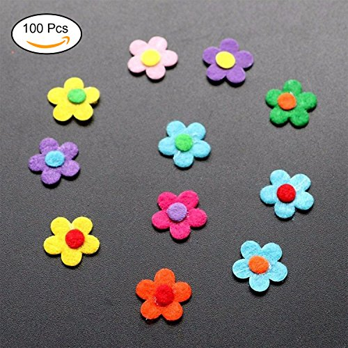 DOMIRE 200 Pieces Felt Flowers Fabric Flower Embellishments for DIY Crafts, Assorted Colors