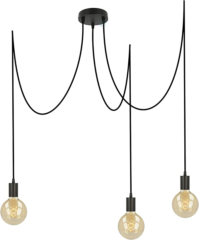 Pendelleuchte Schwarz Metall 3 Flammig E27 Fassung Höhenverstellbares Textilkabel 3x Deckenpins Für Den Affenschaukel Lampen Look Deckenleuchte Vintage Schwarz Fl01 3 X 4 Meter Beleuchtung