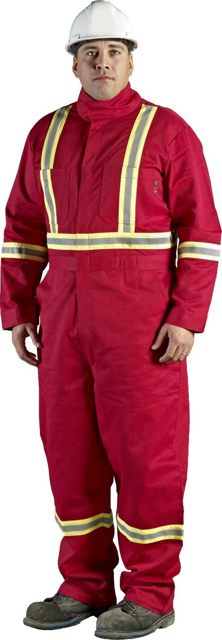 Walls Red 9-Ounce FR 88/12 Striped Coverall, HRC 2, ATPV, 12.7 cal/cm2, CGSB 155.20, CSA Z462, NFPA 2112, NFPA 70E and ASTM F1506 48L Walls FR C62045R29 48L