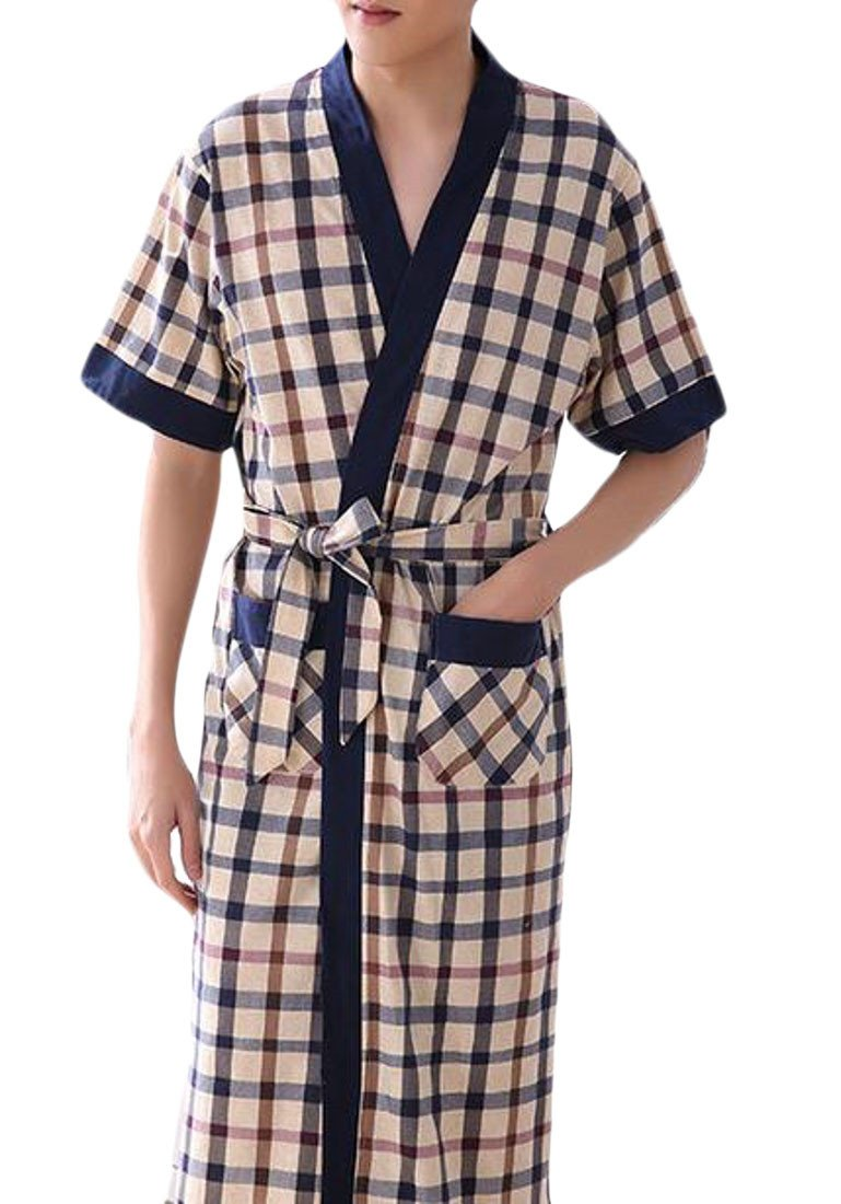 Pivaconis Men's Loose Fit Bathrobe Summer Checkered Kimono Short Sleeve Robe 1 L