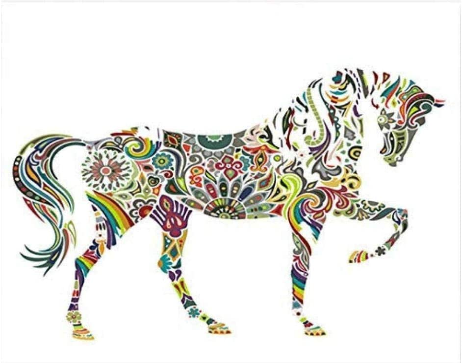 HAOLL DIY Acuarela Pintura Al Óleo Caballo Arte Cuadros Dibujo Pintura por Números con Colores Números para Decoración De La Sala De Estar 40X50 Cm Sin Marco