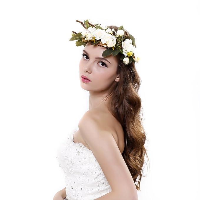 KMALL Bianca coroncina fiori capelli con bracciale fiore per sposa  damigella donore bambina donna per festa ... aca859d4494e